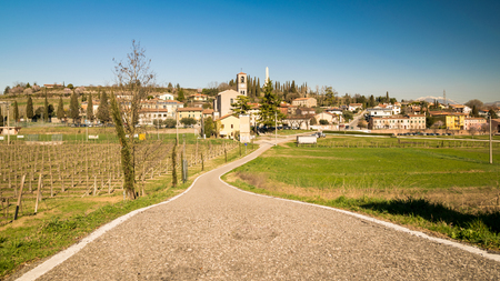 eponymous: View of Custoza surrounded by the vineyards that produce the famous eponymous white wine. Stock Photo