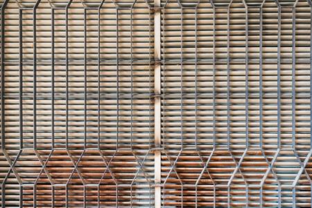 no pase: Barreras a las ventanas de un antiguo asilo que dejan pasar la luz pero no permiten ver el interior. Foto de archivo