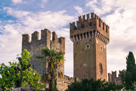 Detail of the ornamented towers of a medieval castle. Stock Photo