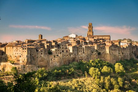 Panorama of Pitigliano, a town built on a tuff rock, one of the most beautiful villages in Italy. Editorial