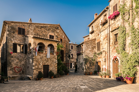 The ancient village of Montemerano, Tuscany, Italy.