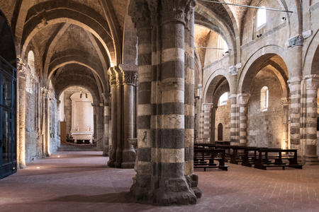 Sovana, Italy - June 25, 2017: The Duomo of Sovana (cathedral of Saints Peter and Paul) is one of the most important Gothic Romanesque buildings of all Tuscany.
