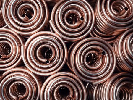 熱交換器巻線の銅パイプによって得られます。 写真素材