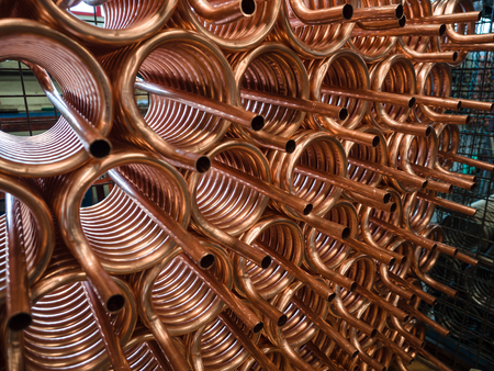 Heat exchangers obtained by winding copper pipe.