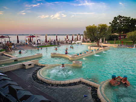Sirmione, Italy - August 3, 2016: Aquaria is the Thermal Spa Center of Terme di Sirmione. A unique place, surrounded by the beautiful setting of Lake Garda. Editöryel