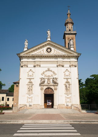 18th century church of St. Peter and Paul with carved facade bearing the statues of the two saints, Padua, Italy. Stock Photo