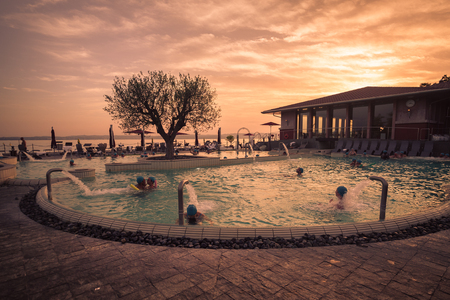 Sirmione, Italy - August 3, 2016: Aquaria is the Thermal Spa Center of Terme di Sirmione. A unique place, surrounded by the beautiful setting of Lake Garda. Editorial