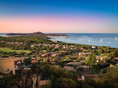 Cape Carbonara panorama at sunset. It is a famous tourist resort near Villasimius, Sardinia, Italy.