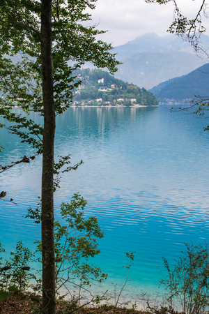 Ledro lake in Italy is called the blue lake Stock Photo