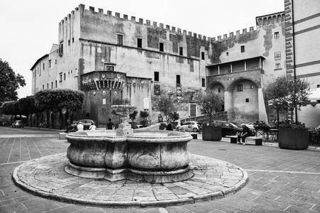 Pitigliano, Italy - June 25, 2017: Square of Pitigliano, ancient village of tufa in Tuscany. Editorial