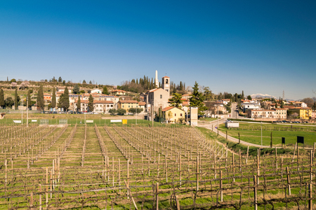 growers: View of Custoza surrounded by the vineyards that produce the famous eponymous white wine. Stock Photo