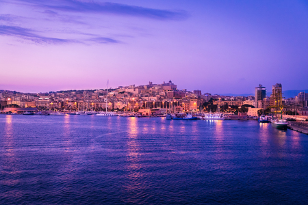 Cagliari at sunset, capital of the region of Sardinia, Italy. Banco de Imagens