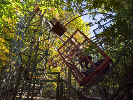 Nervesa della Battaglia, Italy - October 10, 2017: Amusement park with hand-built attractions that use muscular energy and gravitational force.