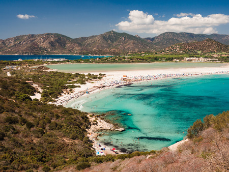 Transparent and turquoise sea in Porto Giunco, Villasimius, Sardinia, Italy Фото со стока