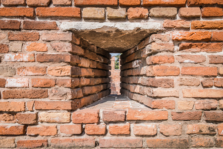 Louver created in the castle wall to allow archers to shoot arrows without getting hit by the enemy. 版權商用圖片