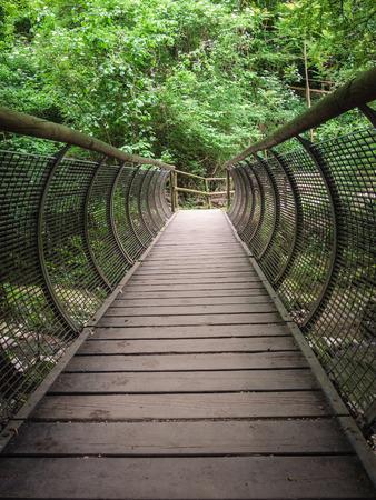 Characteristic pedestrian wooden bridge with a metal grating parapet that resembles the shape of a tunnel. Foto de archivo