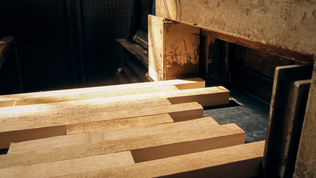 Wooden beams at the end of the drying process in a factory. Stock Photo