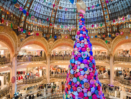 Paris, France - January 6, 2018: Interior of shopping center Galeries Lafayette located boulevard Haussmann in Paris.