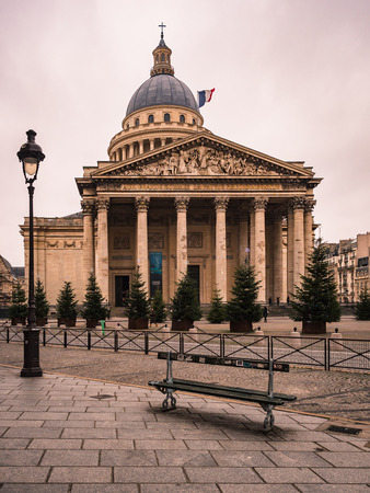 Parisian glimpse of the Latin quarter with a view of the pantheon dome.