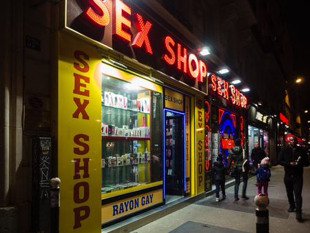 Paris, France - January 7, 2018: Night view of the Pigalle district, famous for its numerous sex shops and night clubs.