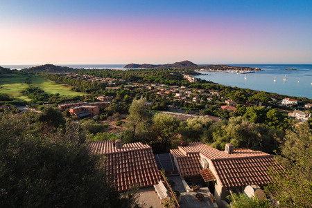 Cape Carbonara panorama at sunset. It is a famous tourist resort near Villasimius, Sardinia, Italy.