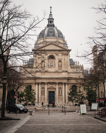 Paris, France - January 7, 2018: La Sorbonne is a Parisian building, whose fame is linked to the universities it has been and still is based on. It is located on the left bank of the Seine, in the Latin quarter. 新聞圖片