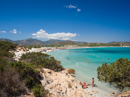 Villasimius, Italy - August 23, 2017: One of the marvelous and uncontaminated beaches of the island of Sardinia, Italy. Editorial