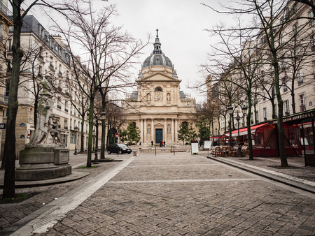 Paris, France - January 7, 2018: La Sorbonne is a Parisian building, whose fame is linked to the universities it has been and still is based on. It is located in the Latin quarter.