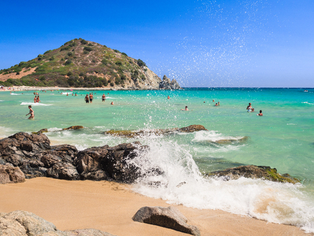 Villasimius, Italy - August 21, 2017: One of the marvelous and uncontaminated beaches of the island of Sardinia, Italy.
