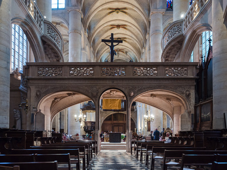 Paris, France - January 7, 2018: St. Stephens Church of the Mount is a Catholic church in Paris. Inside it has a singular architecture, with two stone spiral staircases leading to the upper balustrade.
