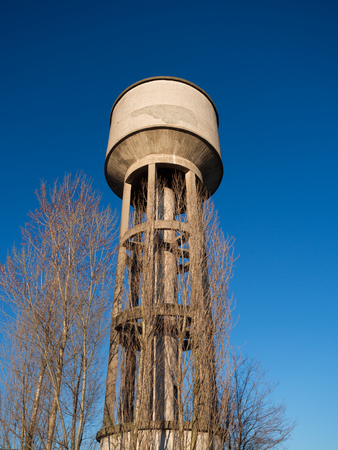 Concrete tower with water cistern of an old aqueduct.