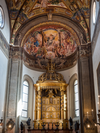 Parma, Italy - April 8, 2018: The Cathedral of Santa Maria Assunta is famous for the beauty of its renaissance-style frescoes. Editorial