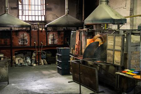 Murano, Italy - April 24, 2017: Interior of an artistic glassworks in Murano, Venice.