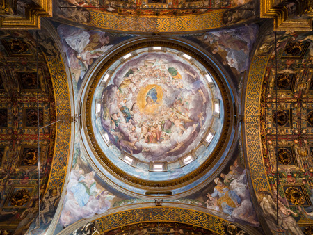 Parma, Italy - April 8, 2018: Detail of the marvelous Renaissance frescoes on the ceiling of the Cathedral of Santa Maria Assunta in Parma. Editorial