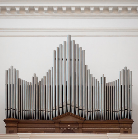 Organ above the entrance of an italian church. 写真素材