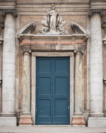 Entrance portal of the Basilica of Santa Maria in Porto in Ravenna, Italy.