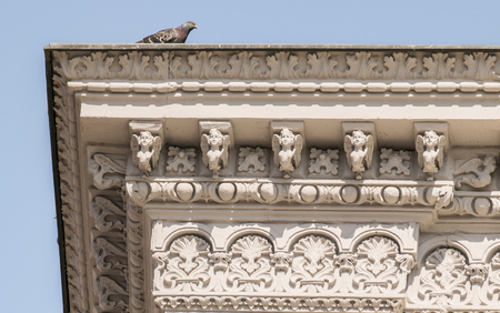 Cornice of ancient palace with carved angels and pigeon.