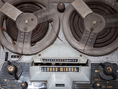 Padua, Italy - April 2, 2018:  Detail of a Reel-to-reel audio tape recording. Éditoriale