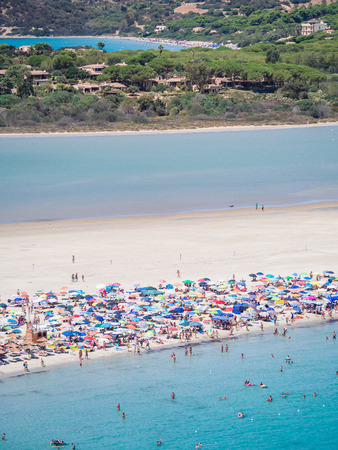 Transparent and turquoise sea in Porto Giunco, Villasimius, Sardinia, Italy Stok Fotoğraf