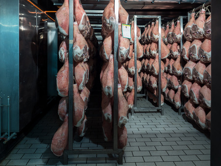 Thighs of ham during the drying process within a temperature and humidity controlled cell.