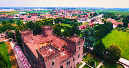 Beautiful old italian castle hosting wedding in the countryside.