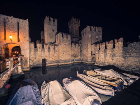 Scaliger Castle in Sirmione on Lake at Night, Garda, Lombardy, I
