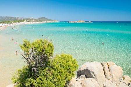 Panorama of the wonderful beaches of Chia, Sardinia, Italy.