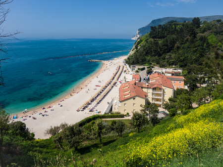 The wonderful and unspoiled beach of Numana, mount Conero, Italy.