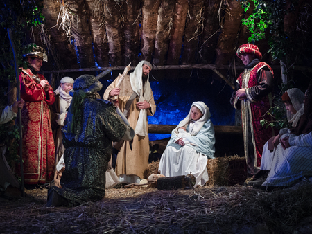 Villaga, Italy - December 30, 2017: Representation of the nativity recreating the famous paintings of Giotto and Caravaggio. Editorial