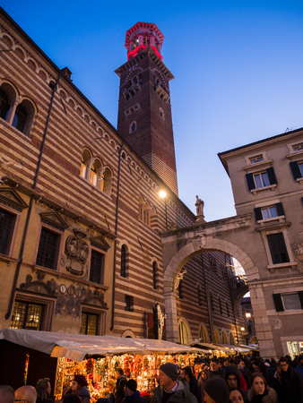Verona, Italy - November 18, 2018: Piazza dei Signori during the Christmas markets.
