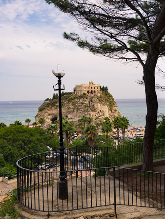 The church of Santa Maria dellIsola stands on a beautiful islet that is recognized as a symbol of Tropea, Italy.
