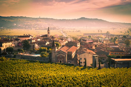 View of Soave (Italy) surrounded by vineyards that produce one of the most appreciated Italian white wines. 版權商用圖片