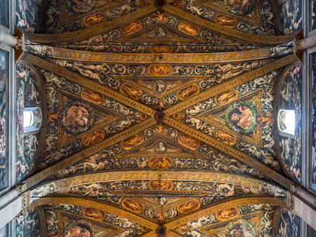 Parma, Italy - April 8, 2018: Detail of the marvelous Renaissance frescoes on the ceiling of the Cathedral of Santa Maria Assunta in Parma.