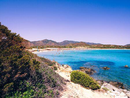 Transparent and turquoise sea in Porto Giunco, Villasimius, Sardinia, Italy 写真素材